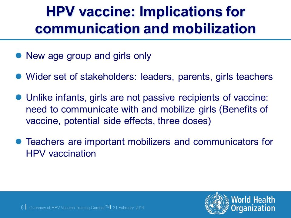 HPV vaccine: Implications for communication and mobilization