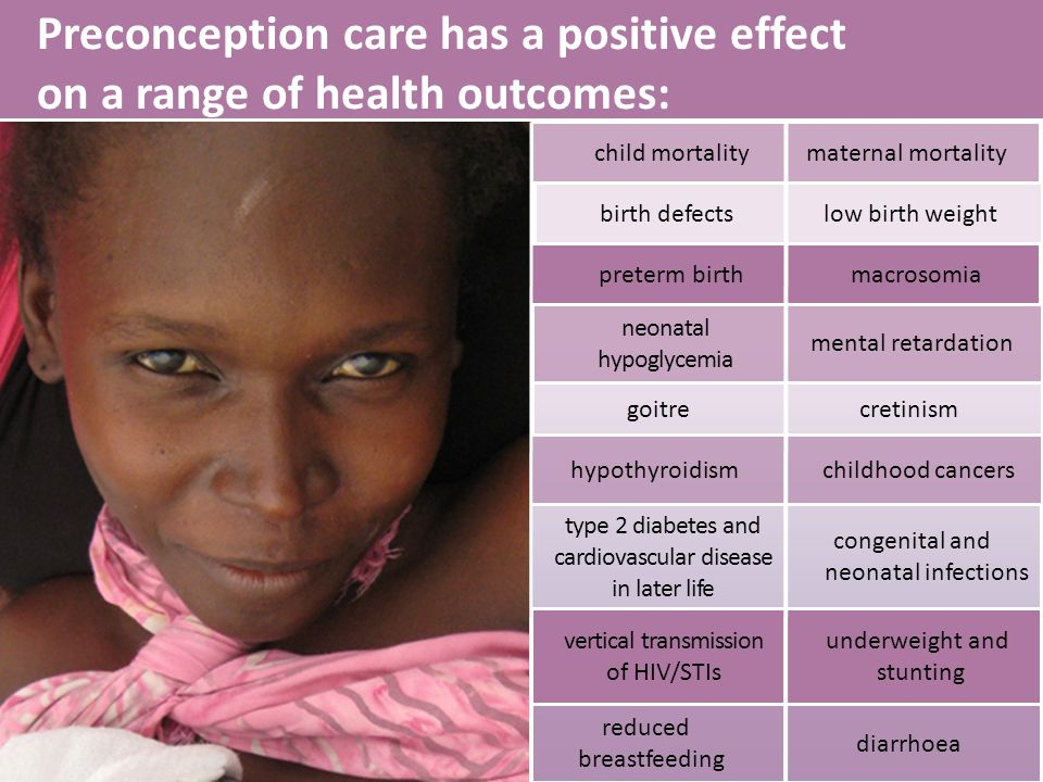 Preconception care has a positive effect on a range of health outcomes: