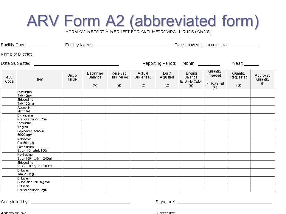 ARV Form A2 (abbreviated form)