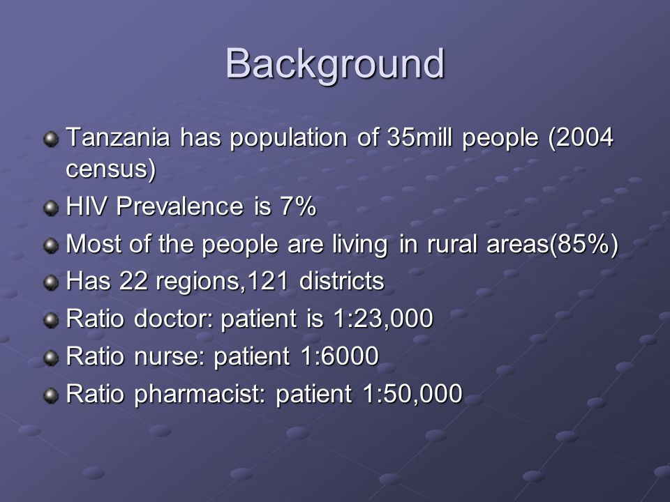 Background Tanzania has population of 35mill people (2004 census)