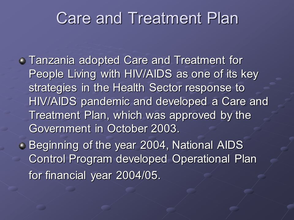 Care and Treatment Plan