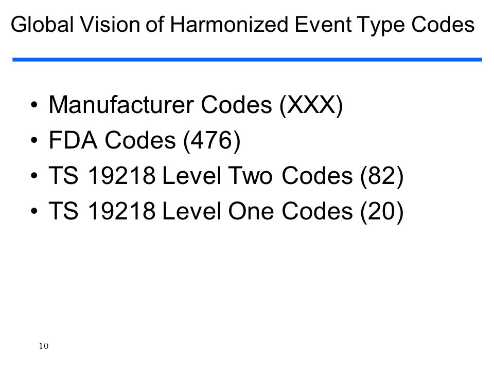 Global Vision of Harmonized Event Type Codes
