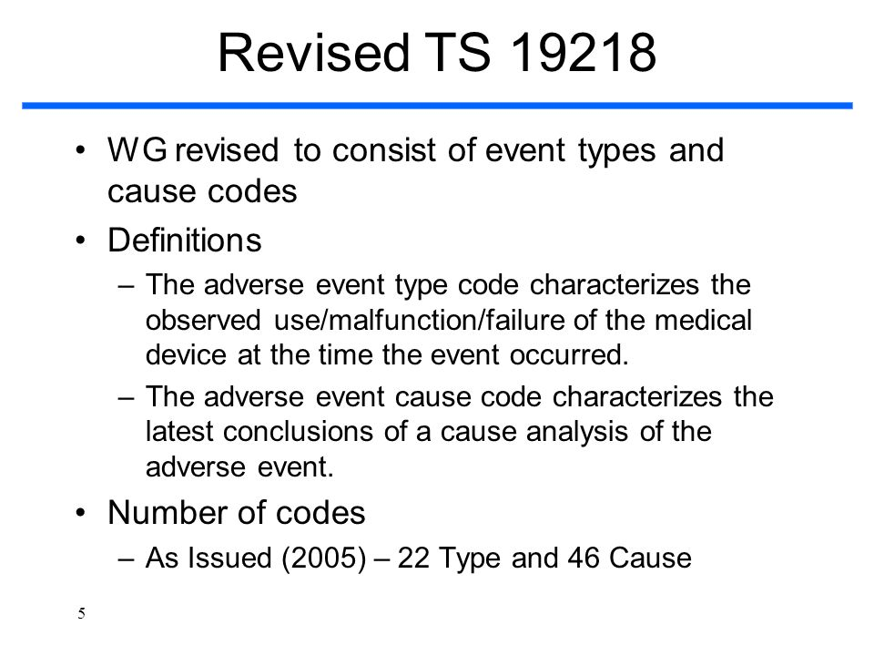 Revised TS 19218 WG revised to consist of event types and cause codes
