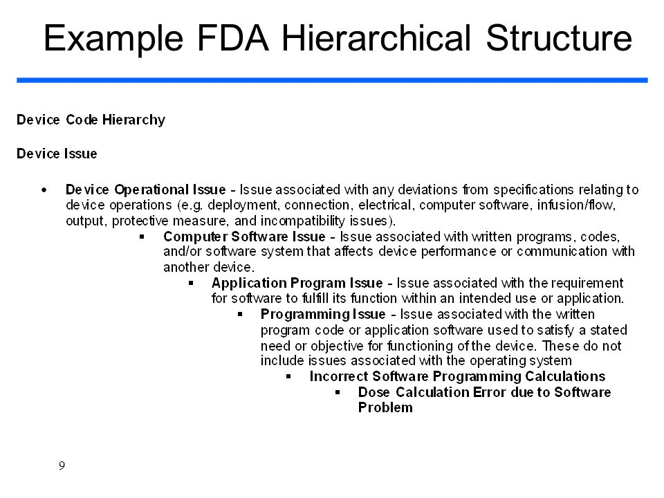 Example FDA Hierarchical Structure