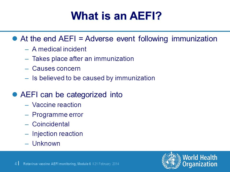What is an AEFI At the end AEFI = Adverse event following immunization. A medical incident. Takes place after an immunization.