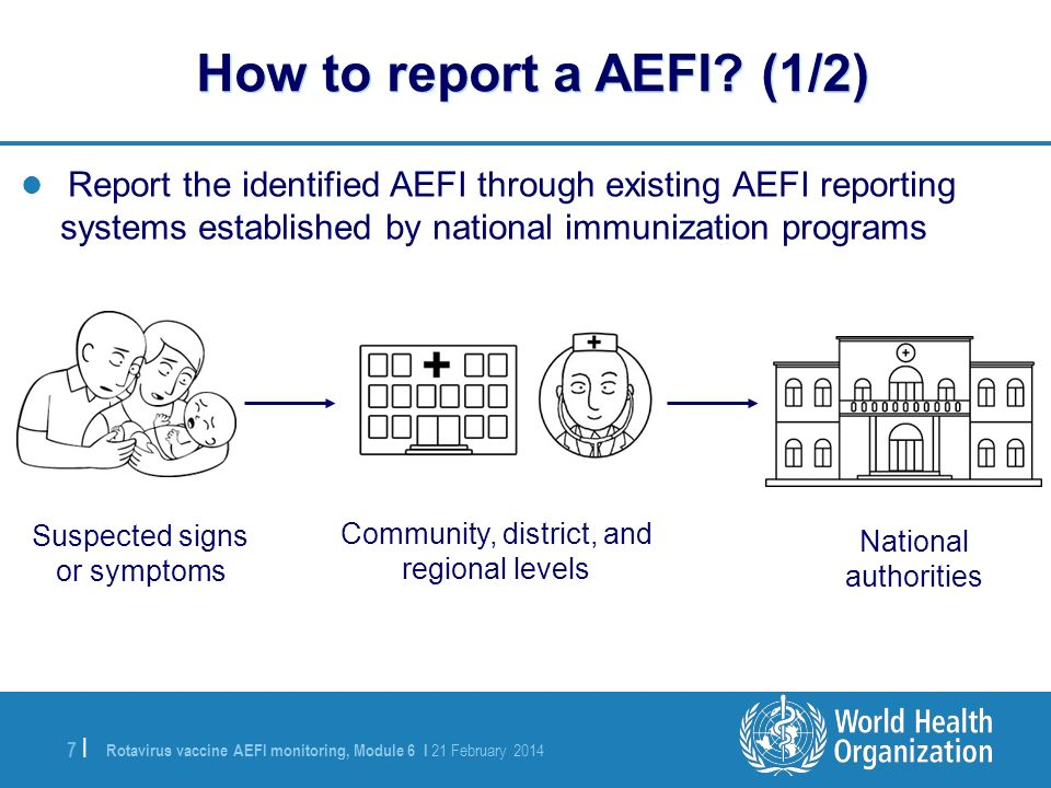 How to report a AEFI (1/2) Report the identified AEFI through existing AEFI reporting systems established by national immunization programs.