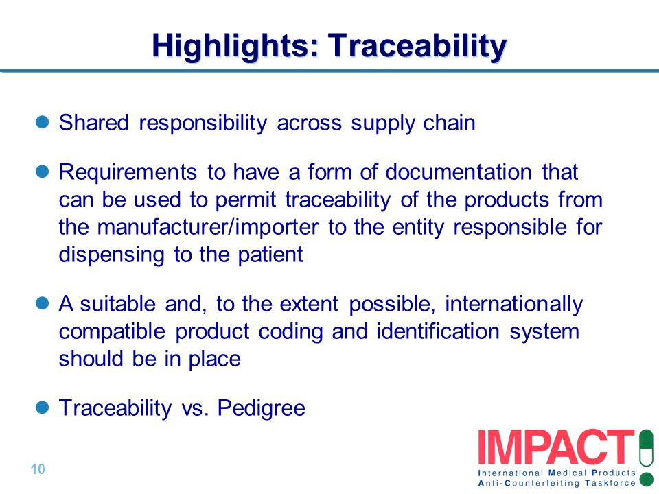 Highlights: Traceability