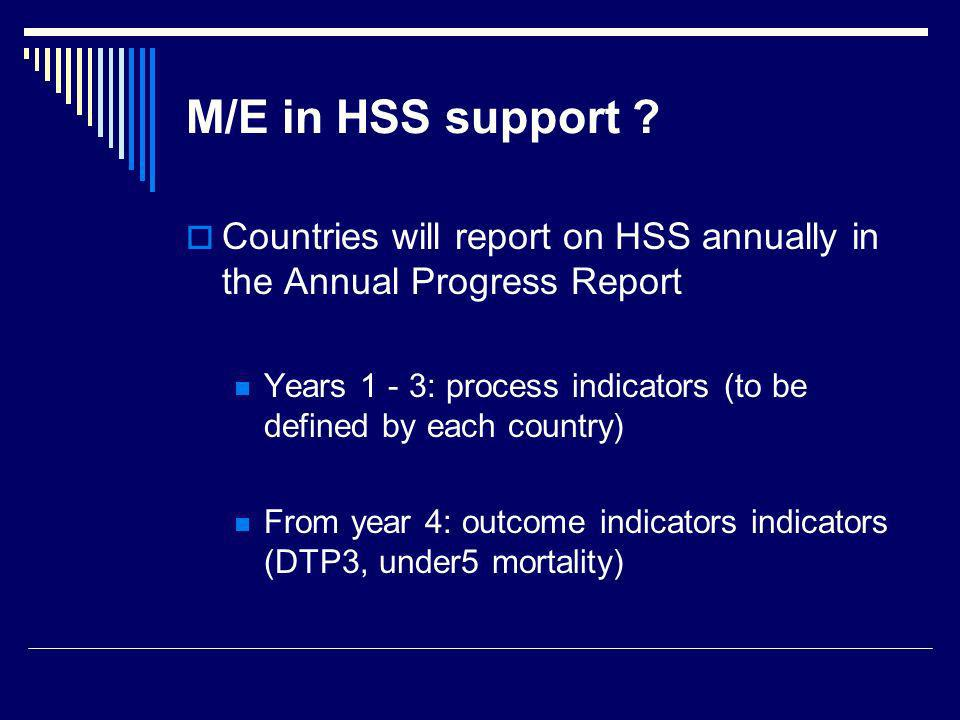 M/E in HSS support Countries will report on HSS annually in the Annual Progress Report.