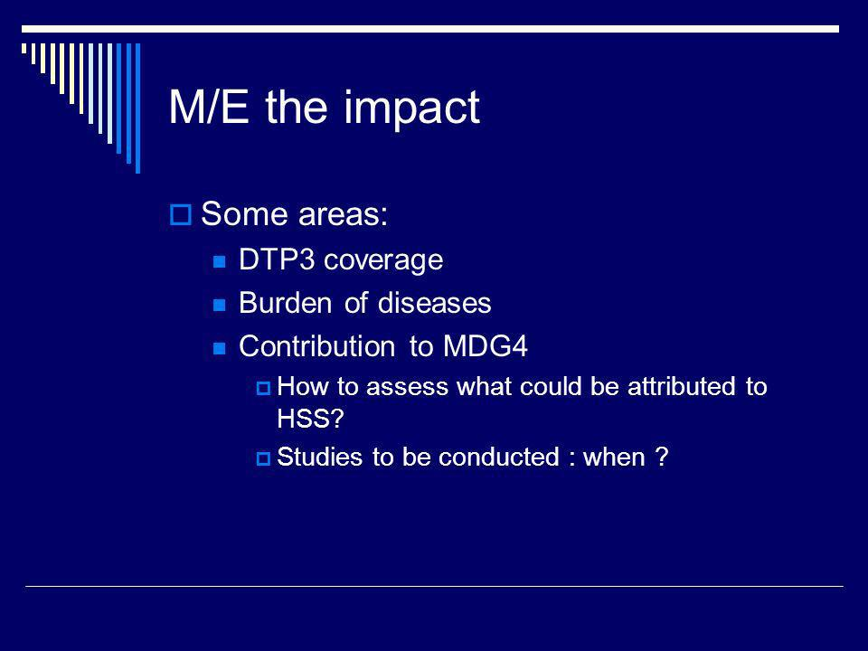M/E the impact Some areas: DTP3 coverage Burden of diseases