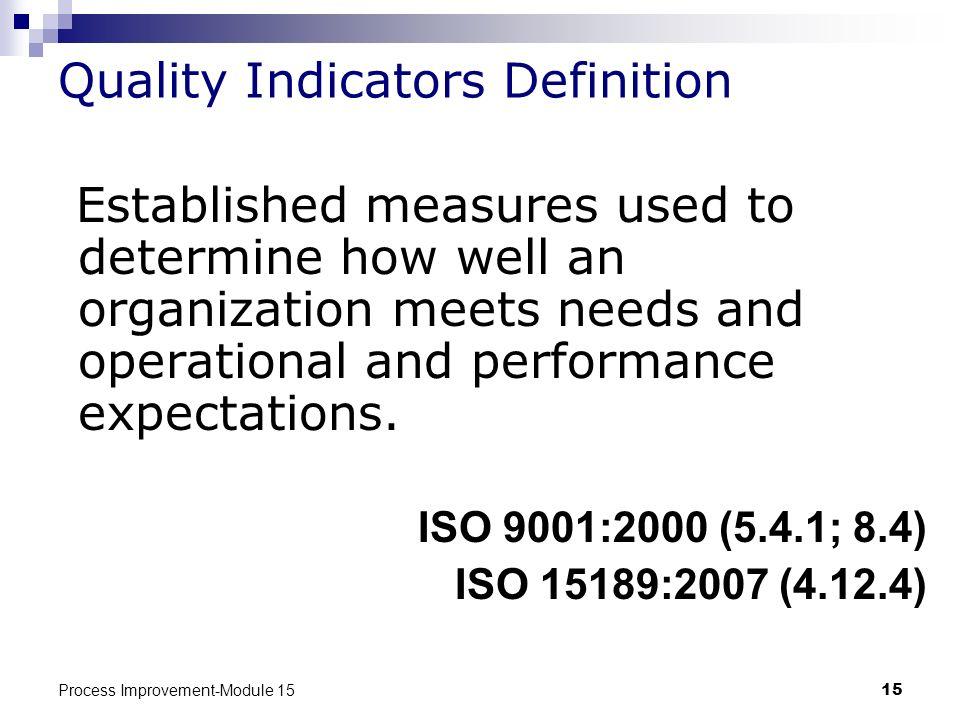 Quality Indicators Definition