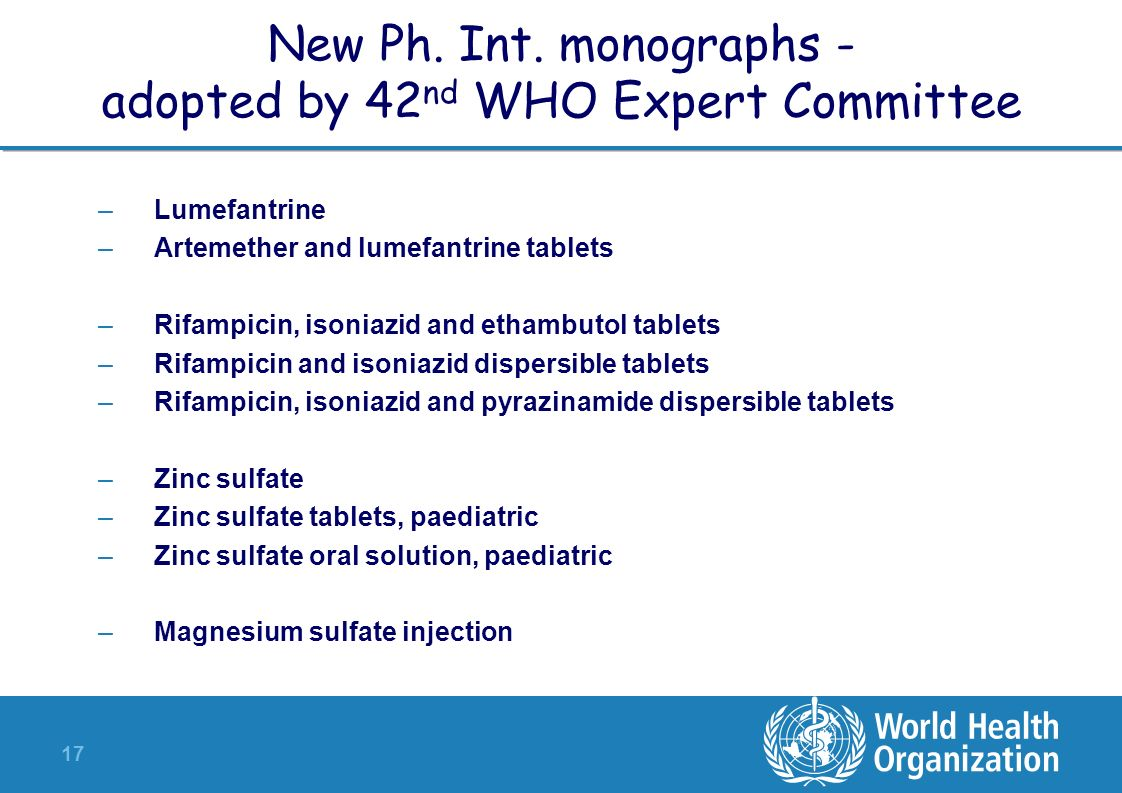 New Ph. Int. monographs - adopted by 42nd WHO Expert Committee