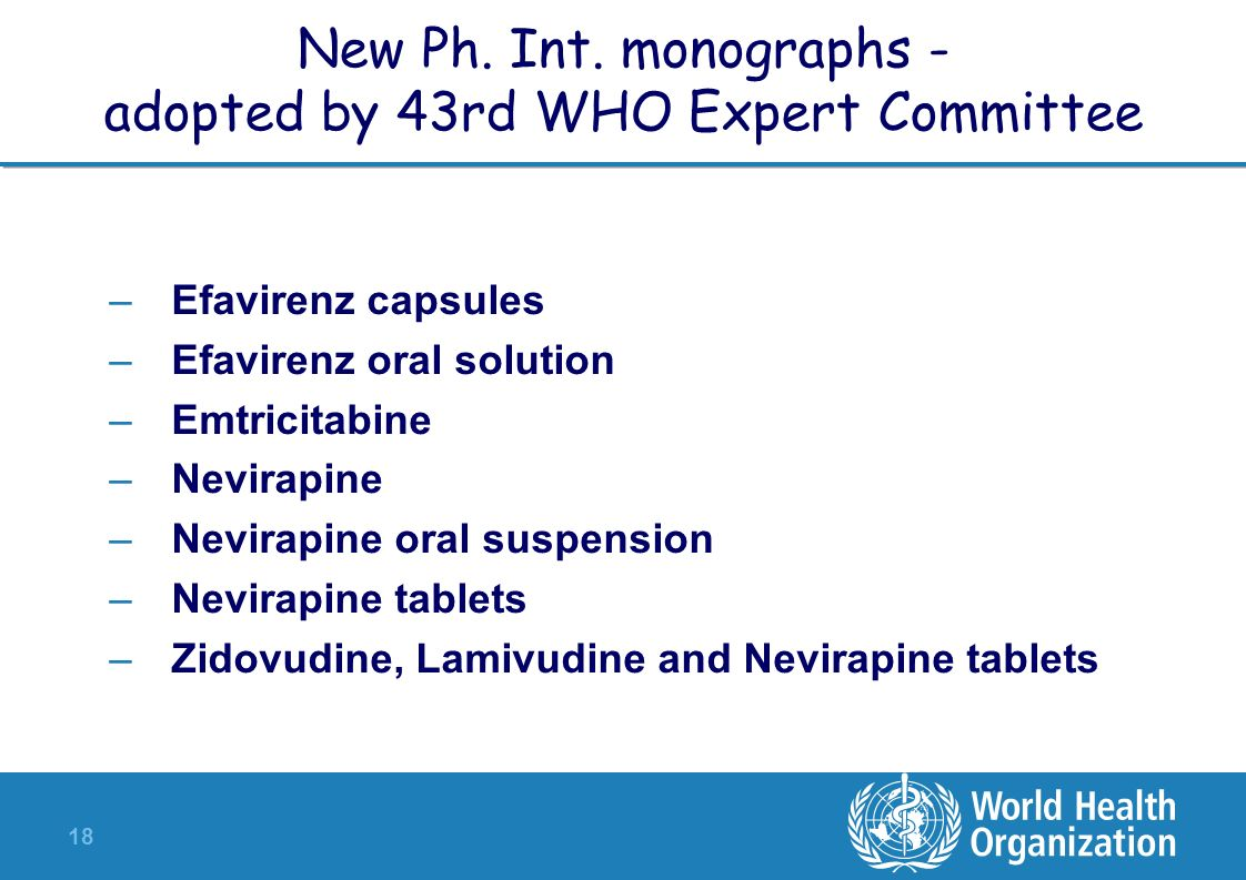 New Ph. Int. monographs - adopted by 43rd WHO Expert Committee