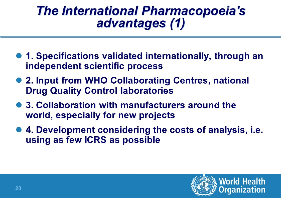 The International Pharmacopoeia s advantages (1)