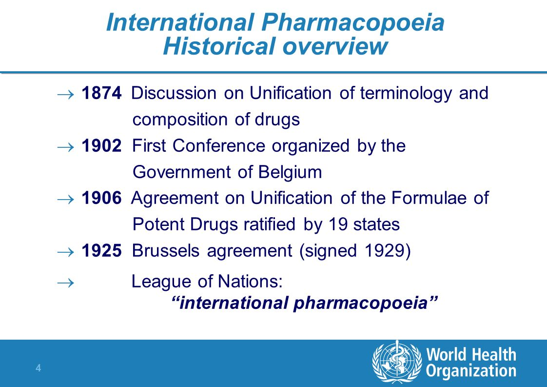 International Pharmacopoeia Historical overview