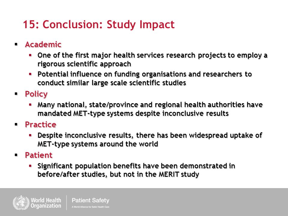 15: Conclusion: Study Impact