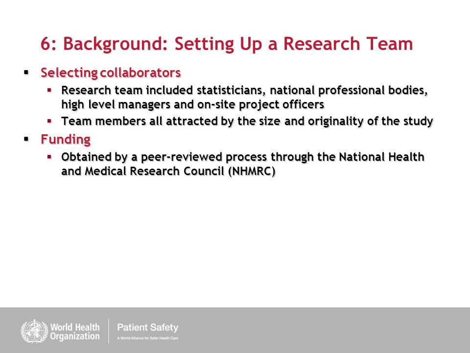 6: Background: Setting Up a Research Team
