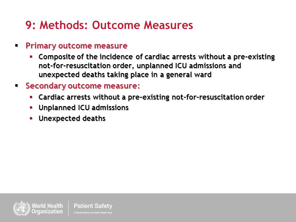 9: Methods: Outcome Measures