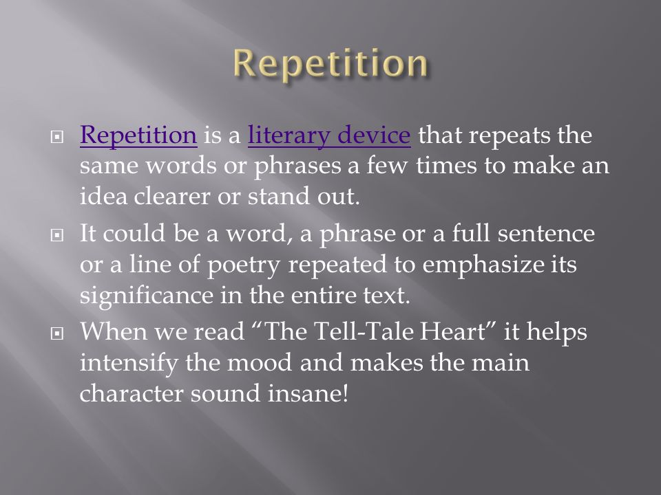A short story typically with animals conveying a moral ... Repetition Literary Device