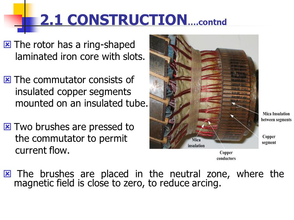 2.1 CONSTRUCTION….contnd The rotor has a ring-shaped