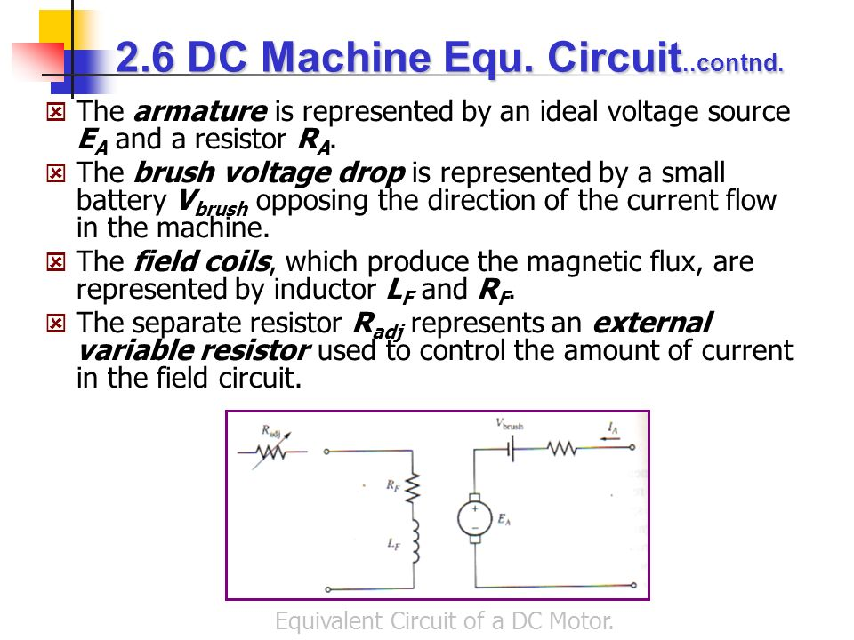 Equivalent Circuit of a DC Motor.