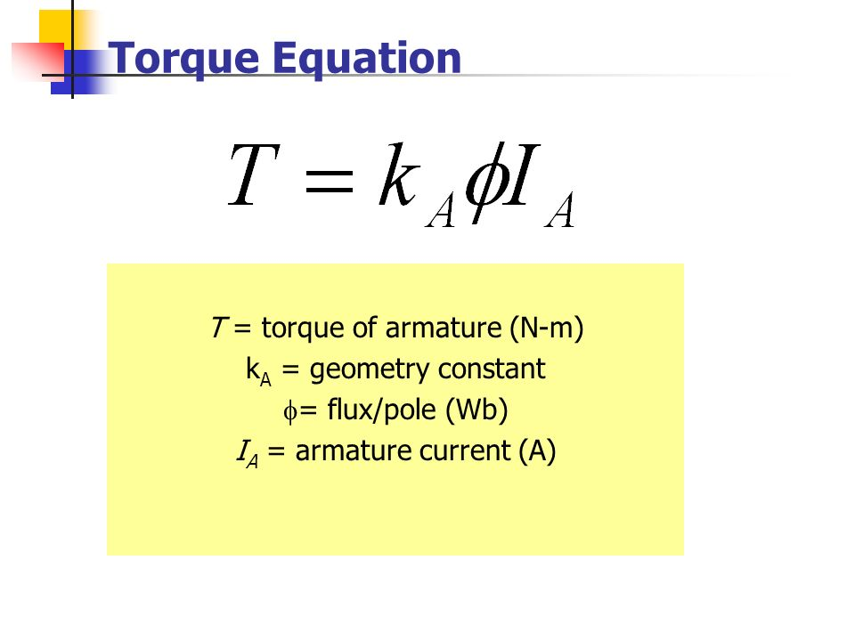 Torque Equation T = torque of armature (N-m) kA = geometry constant