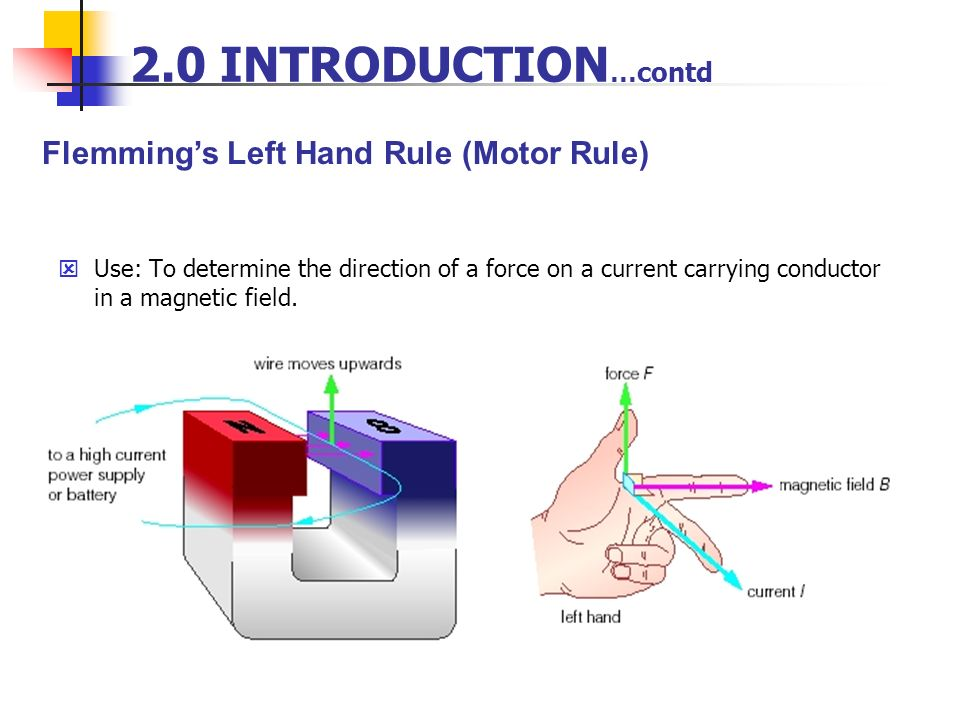 2.0 INTRODUCTION…contd Flemming's Left Hand Rule (Motor Rule)