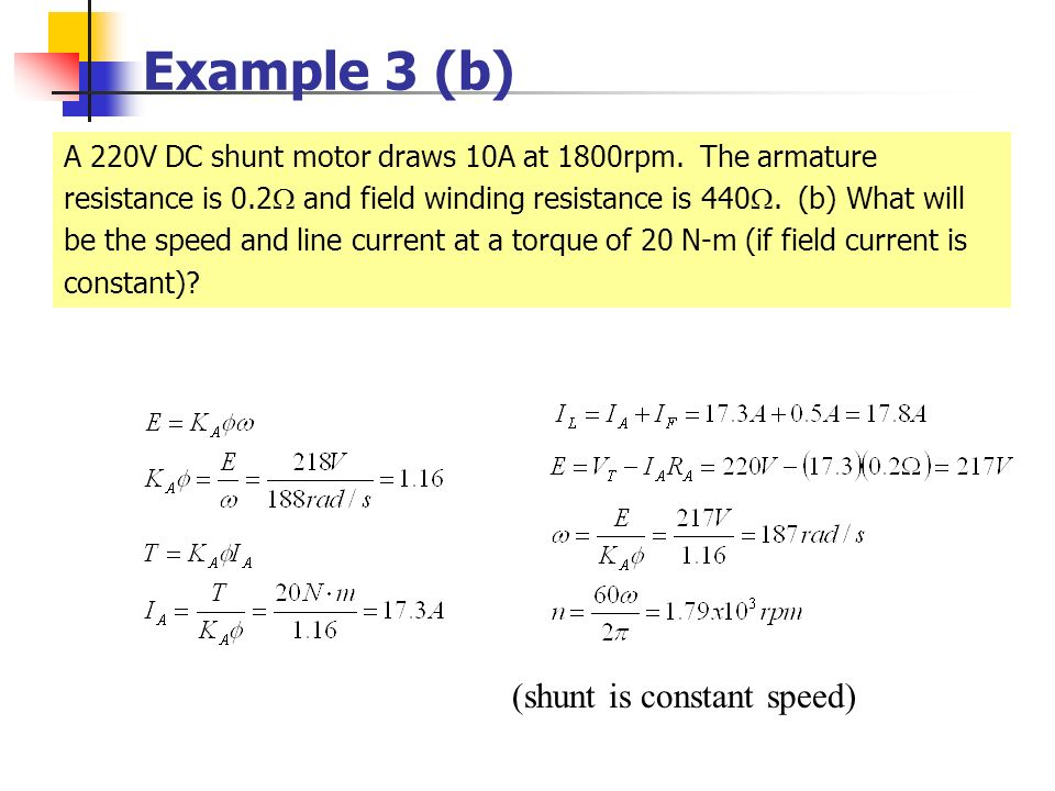 Example 3 (b) (shunt is constant speed)