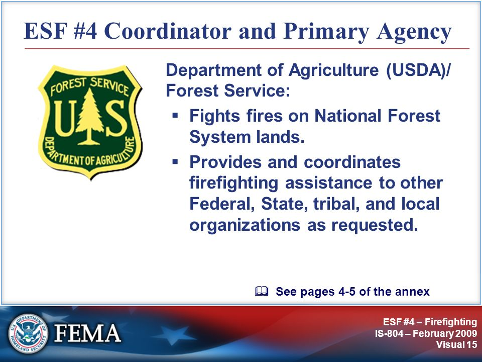 ESF #4 Coordinator and Primary Agency
