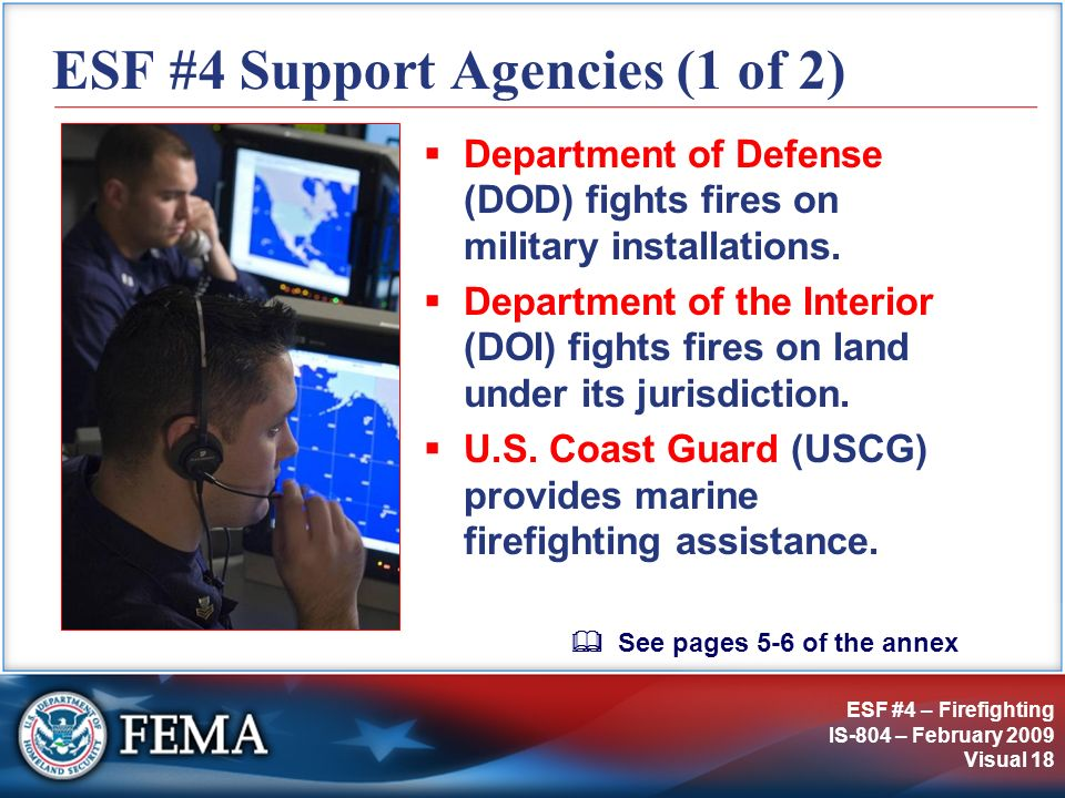 ESF #4 Support Agencies (1 of 2)