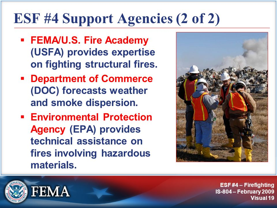 ESF #4 Support Agencies (2 of 2)