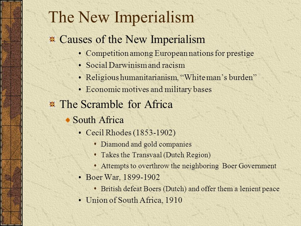 causes of new imperialism Colonial imperialism - this form of imperialism is virtual complete takeover of an   fury could be traced to a new training technique that the soldiers refused to  follow  to legitimize their cause, the daimyos fought in the name of the  emperor,.