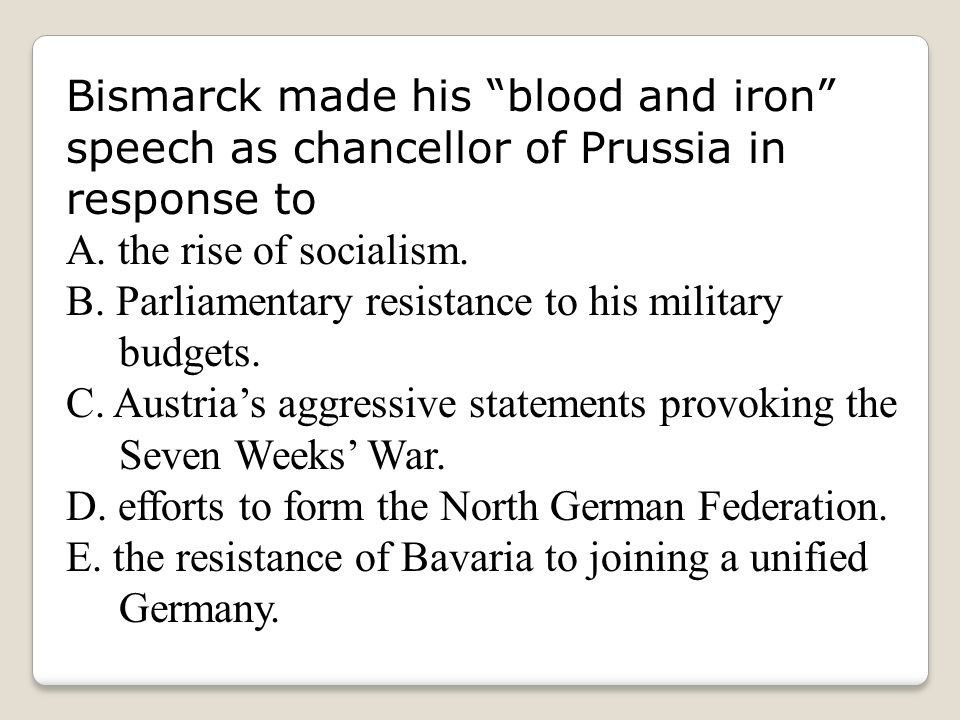 bismarck policy of blood and iron Bismarck's blood and iron speech teaching about blood and iron have students read and explain different parts of the speech have students analyze the text by using the acaps format.
