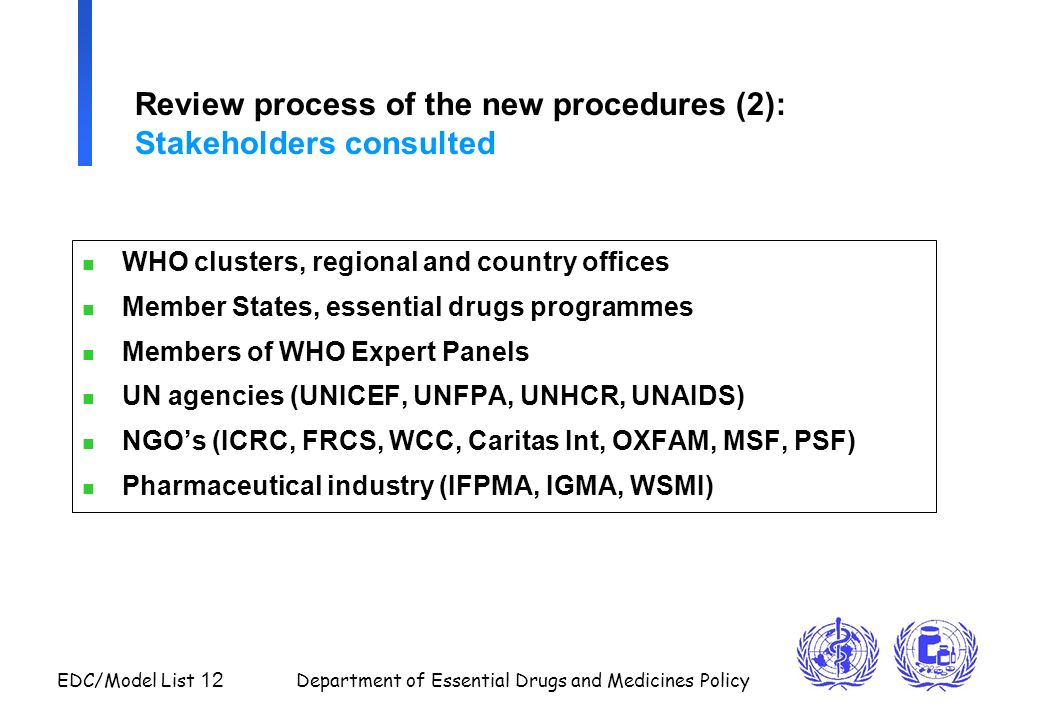 Review process of the new procedures (2): Stakeholders consulted