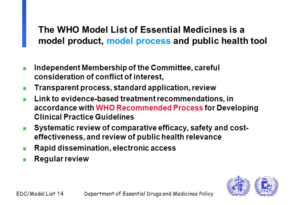 The WHO Model List of Essential Medicines is a model product, model process and public health tool
