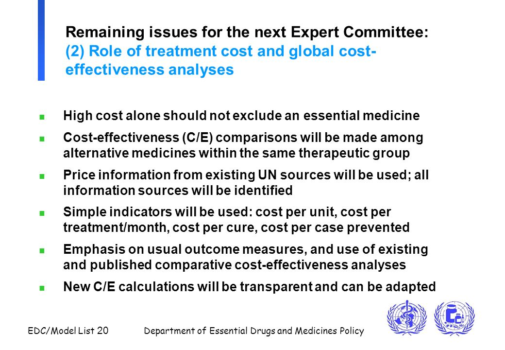 Remaining issues for the next Expert Committee: (2) Role of treatment cost and global cost-effectiveness analyses