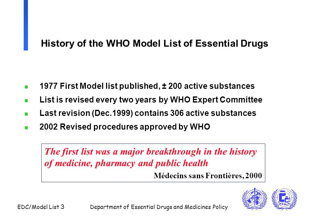 History of the WHO Model List of Essential Drugs