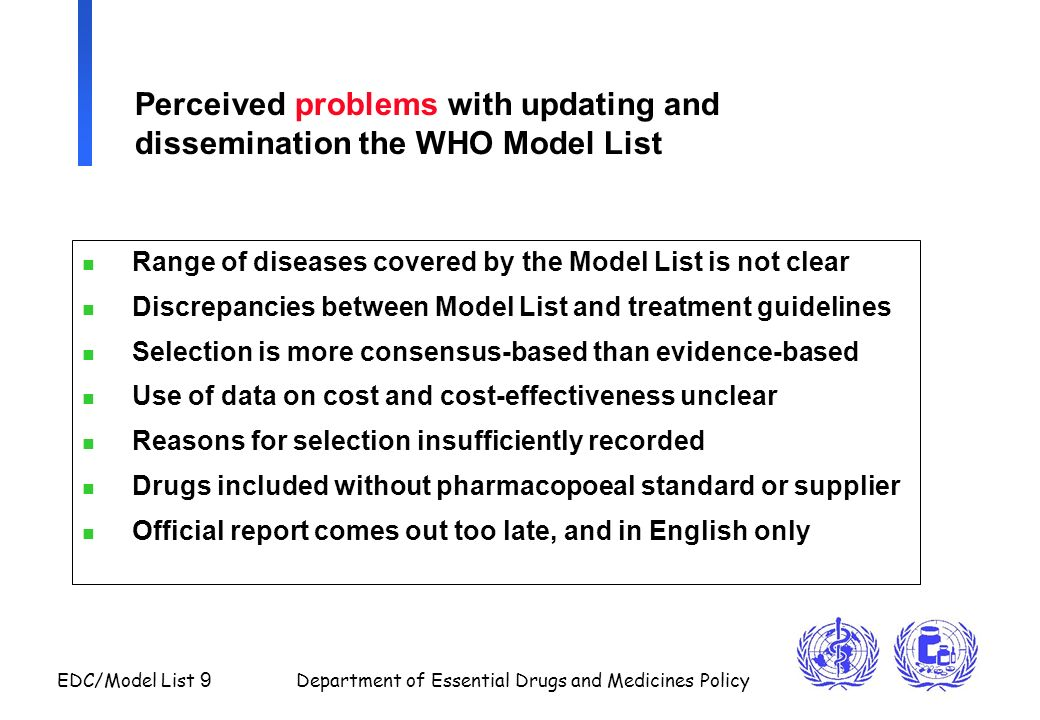 Perceived problems with updating and dissemination the WHO Model List