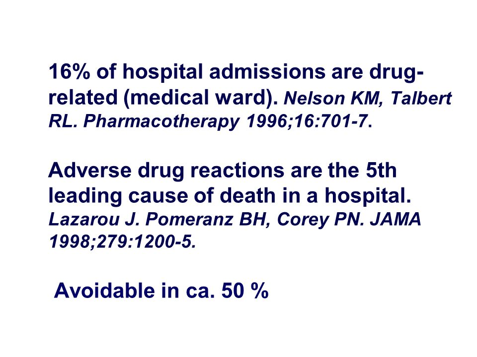 16% of hospital admissions are drug-related (medical ward)