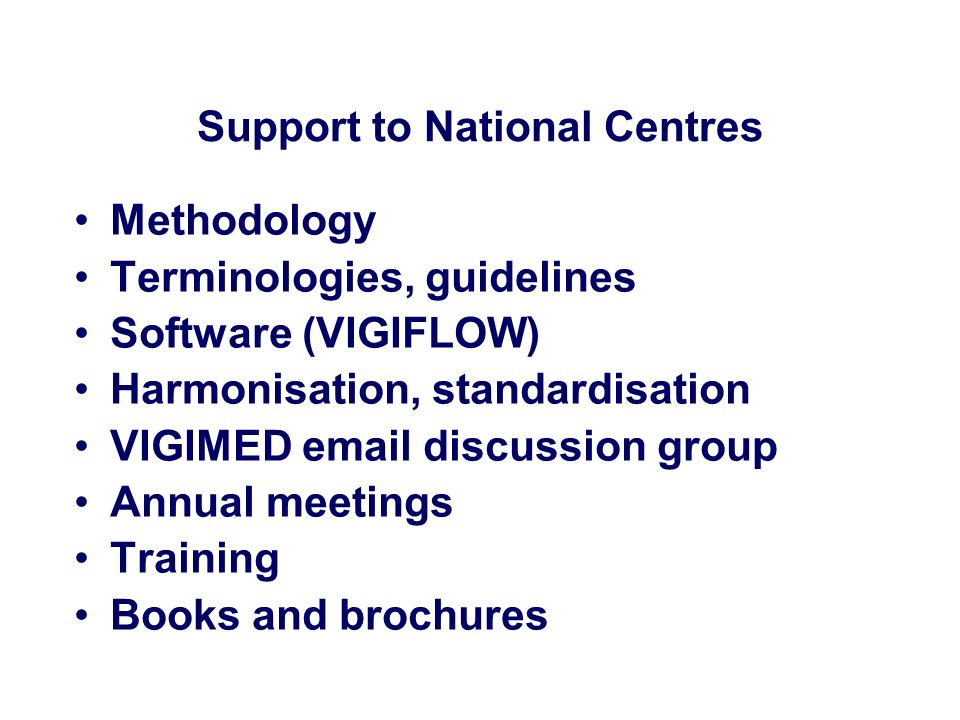 Support to National Centres