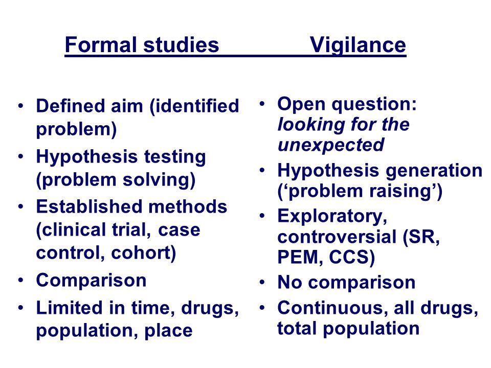Formal studies Vigilance