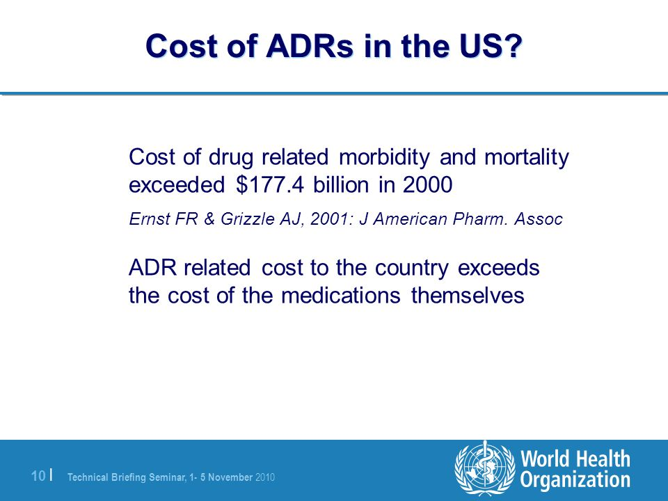 Cost of ADRs in the US Cost of drug related morbidity and mortality exceeded $177.4 billion in 2000.