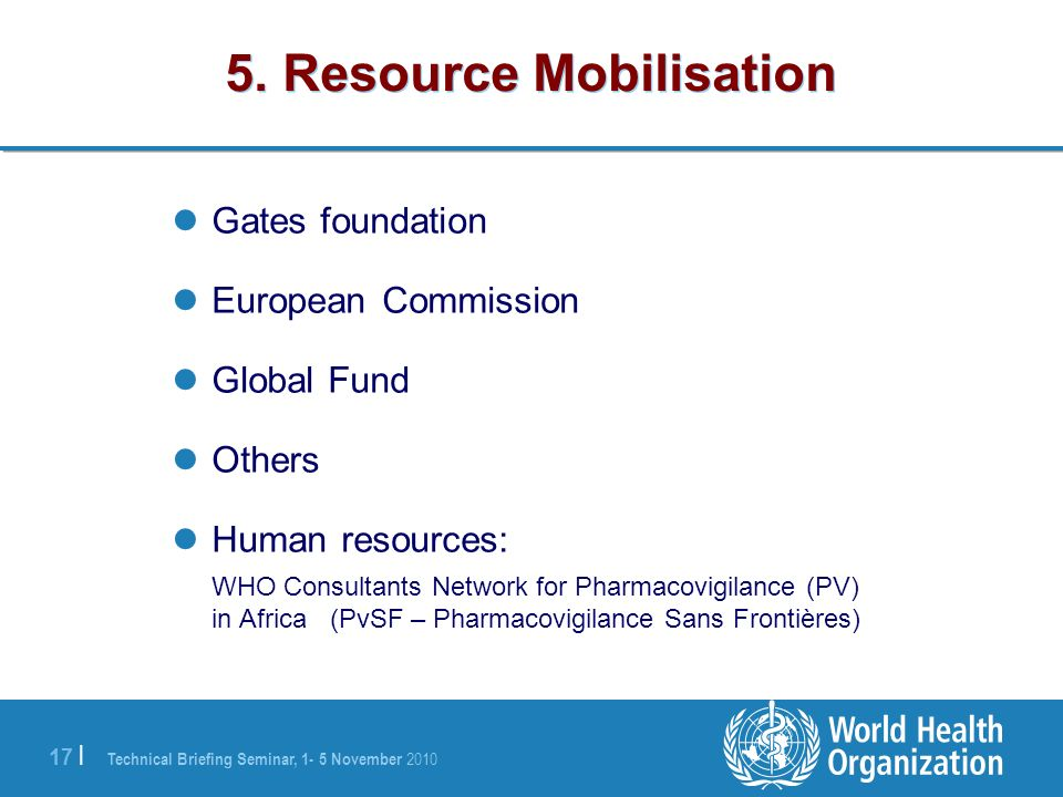 5. Resource Mobilisation