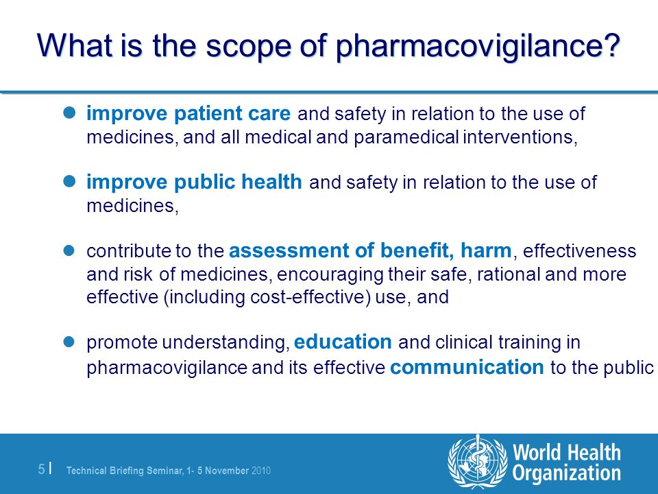 What is the scope of pharmacovigilance