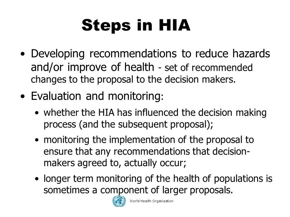 Steps in HIA