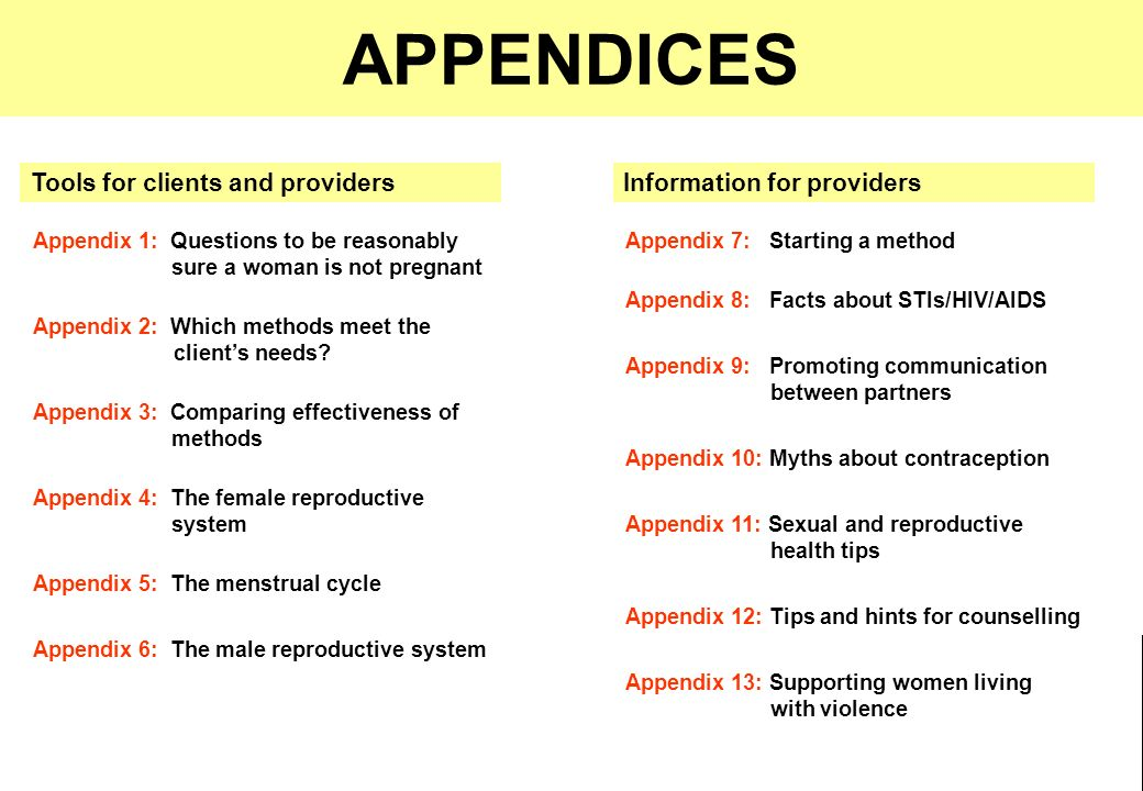 APPENDICES Tools for clients and providers Information for providers
