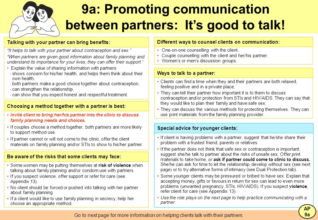 9a: Promoting communication between partners: It's good to talk!