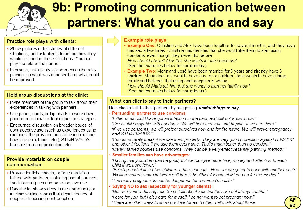 9b: Promoting communication between partners: What you can do and say