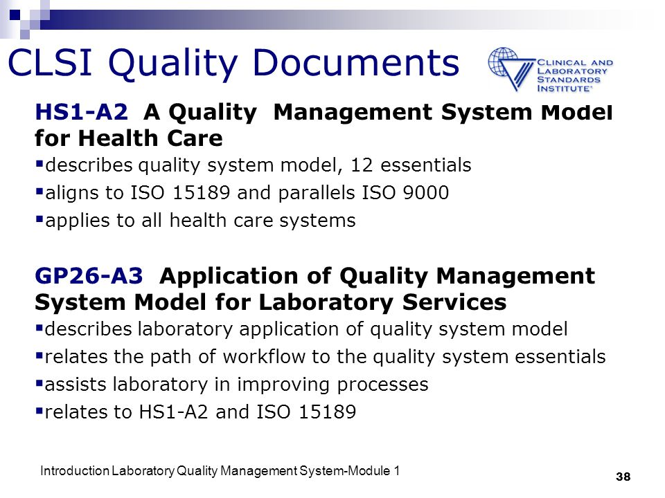 introduction to quality management systems Laboratory quality management system  applies to all health care systems gp26-a3 application of quality  sample management introduction to quality control.