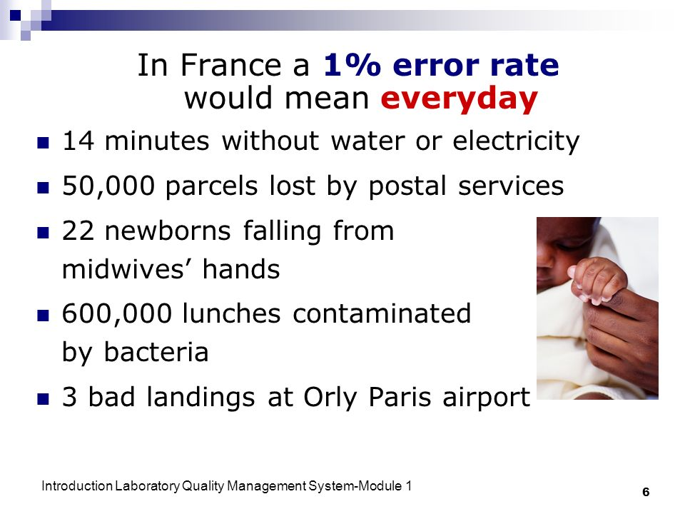 In France a 1% error rate would mean everyday