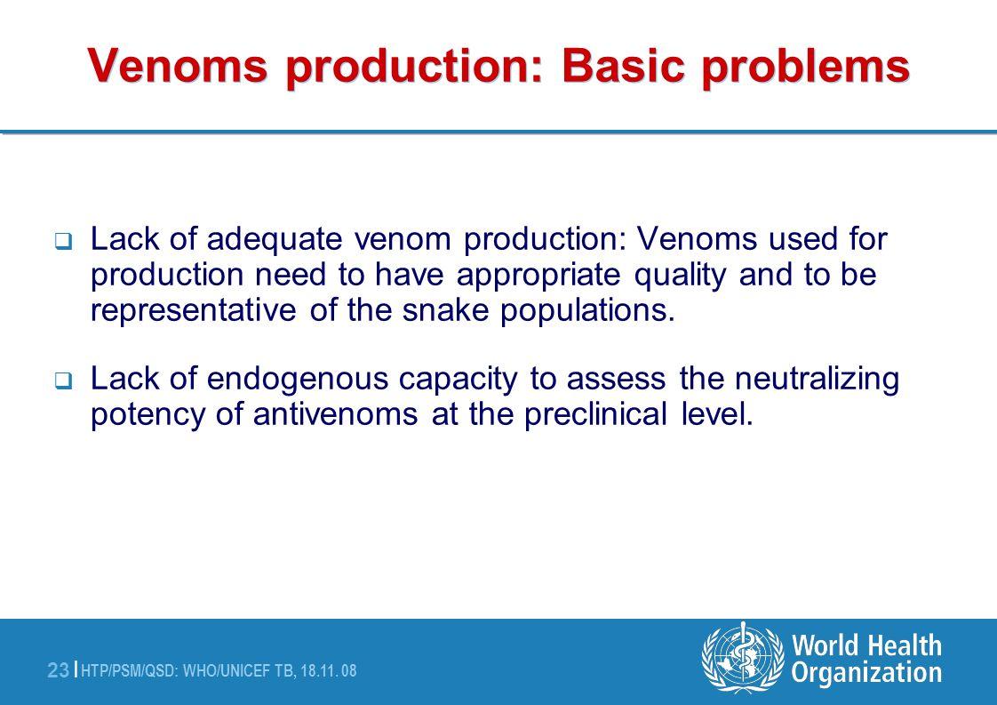Venoms production: Basic problems